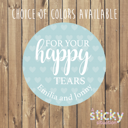 Personalised 'For Your Happy Tears' Wedding Tissue Stickers